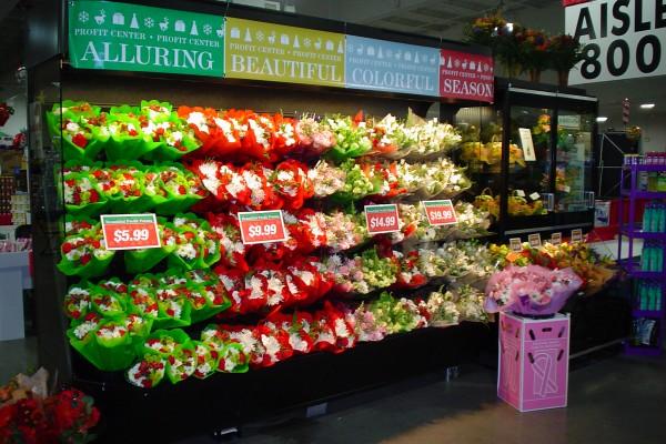 Open flower basket display case - Borgen Systems