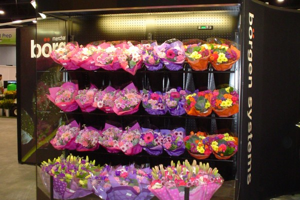 Open round floral case with conversion flip-up shelves - Borgen