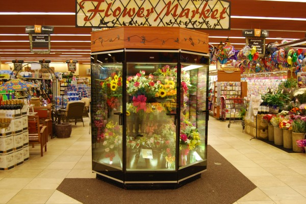 Hexagonal floral refrigerated display case - Borgen Systems
