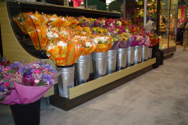 Pullout drawer low-profile floral display case from Borgen Systems