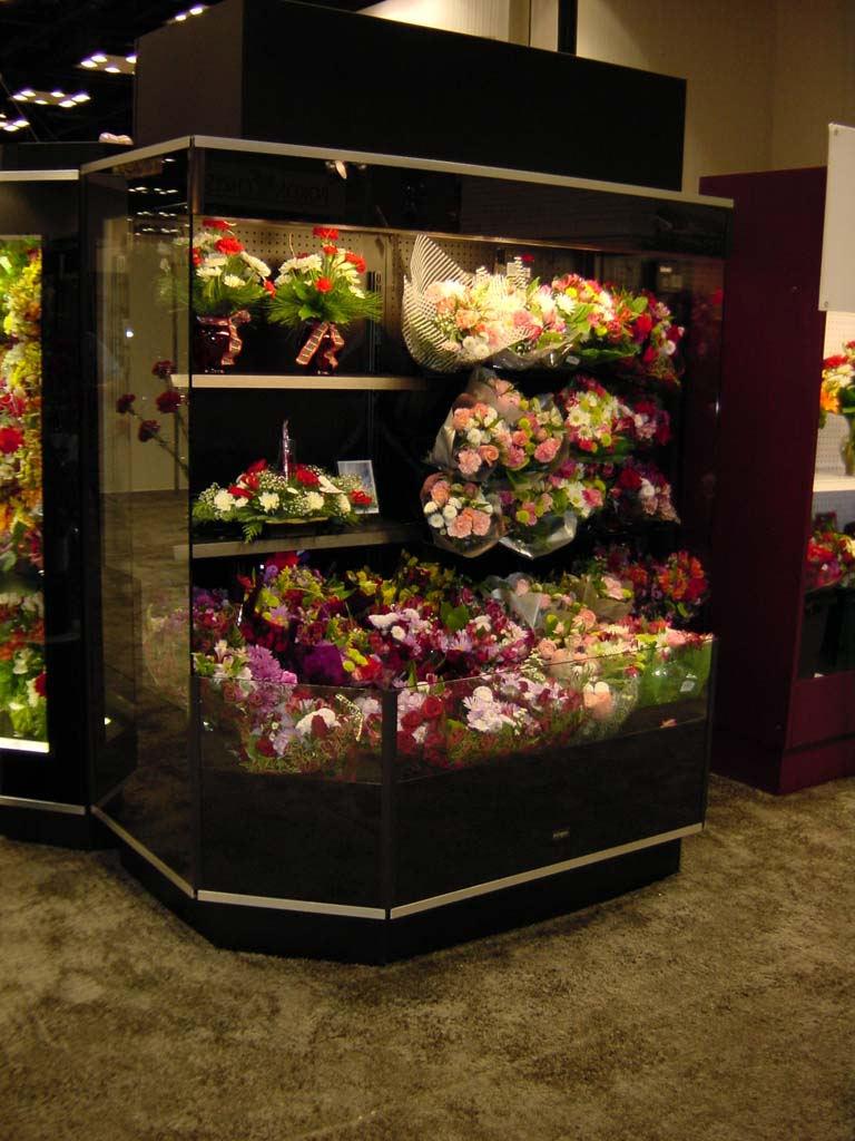 round front open floral display cases
