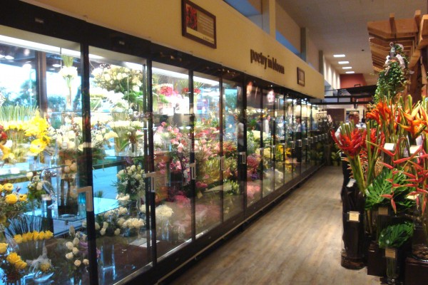 17 door custom floral display case from Borgen