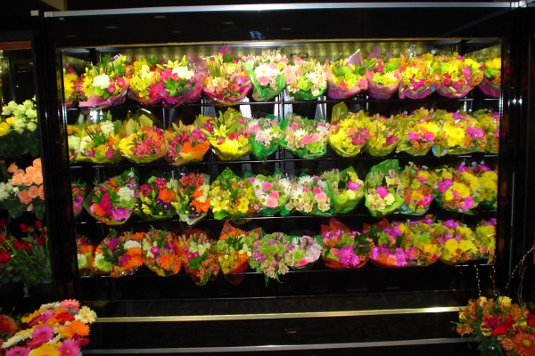 8 ft. open flower display case with CRS shelving