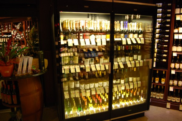 Two-door wine display case - made by Borgen