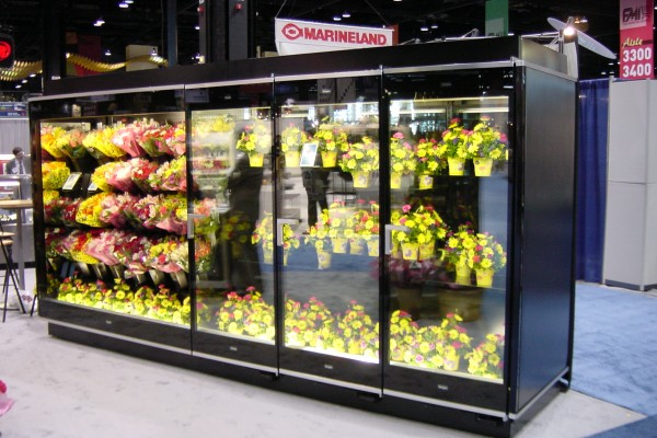 3 door open combination floral display case from Borgen