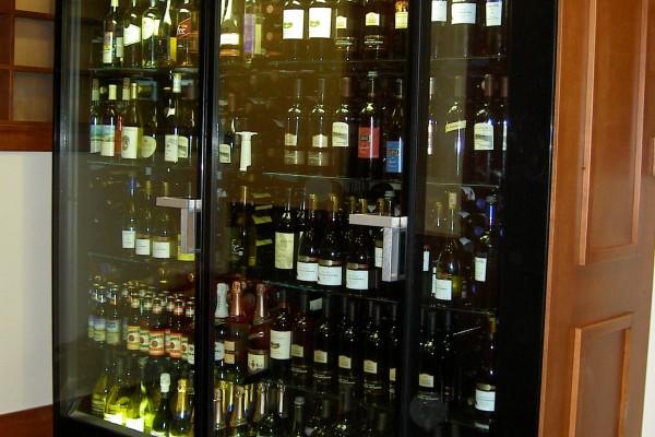 2 door custom wine display case - Borgen Systems